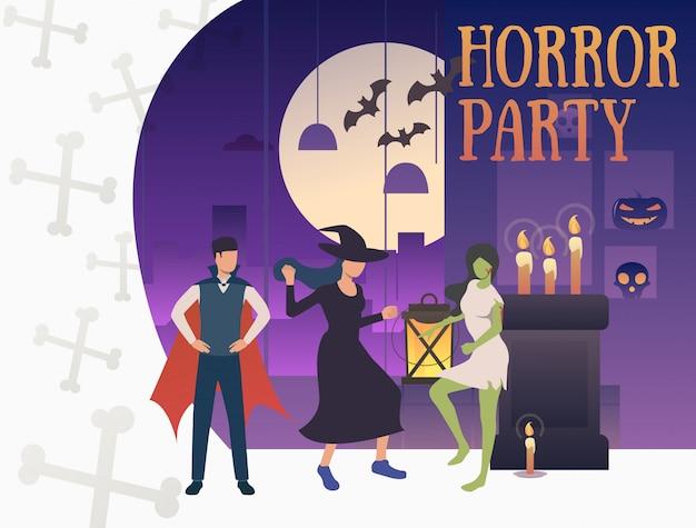 Bannière du parti d'horreur avec des monstres hilarants