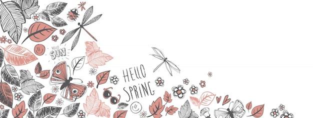 Bannière du printemps griffonnages