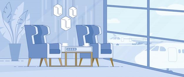 Bannière du salon de luxe du terminal de l'aéroport moderne
