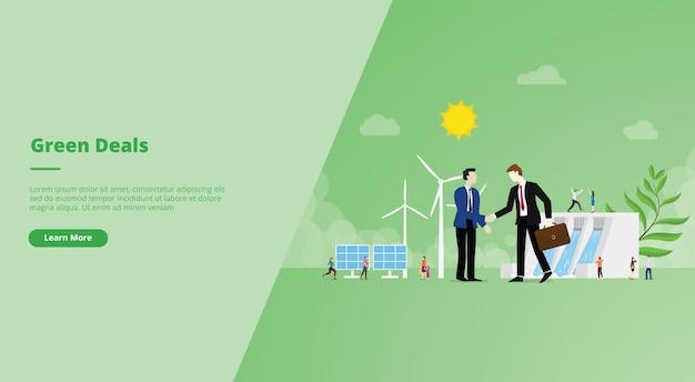 Bannière du site web de l'accord green deal