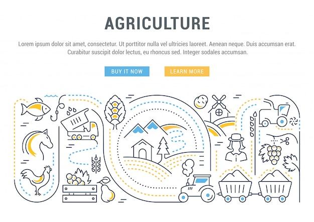 Bannière du site web et page de destination de l'agriculture.