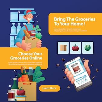 Bannière du vendeur de légumes en ligne