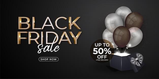 Bannière du vendredi noir avec ballons et modèle de boîte-cadeau
