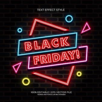 Bannière du vendredi noir avec effets de texte néon