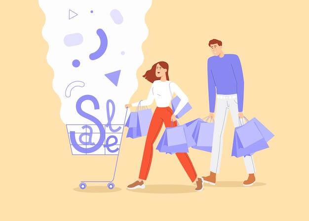 Bannière du vendredi noir. jeunes, shopping avec chariot et sacs.
