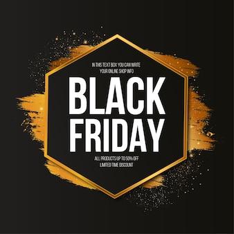 Bannière du vendredi noir moderne avec coup de pinceau doré