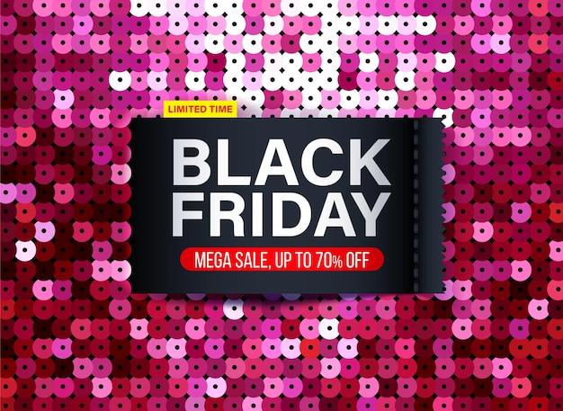 Bannière du vendredi noir moderne avec effet de tissu à paillettes roses pour les offres spéciales, les ventes et les remises