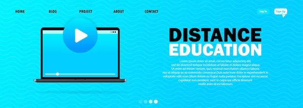 Bannière e-learning sur fond bleu