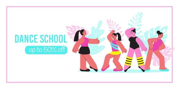 Bannière de l'école de danse avec des personnages féminins de dessin animé de l'enseignant et des élèves