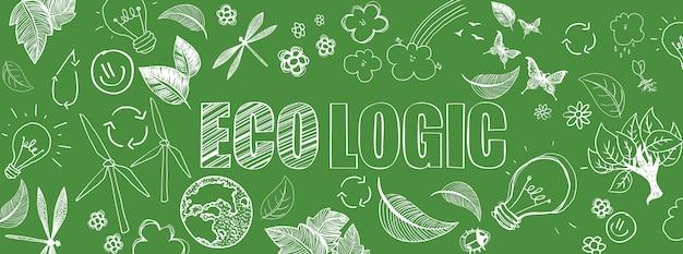 Bannière écologique doodles