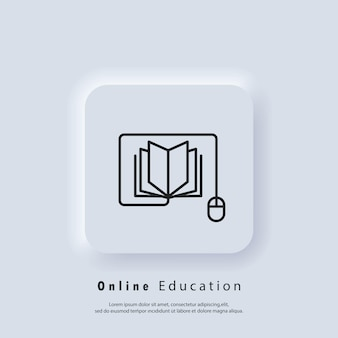 Bannière d'éducation en ligne ou d'examen à distance. éducation à distance, icône de livres électroniques. cours e-learning à domicile, étude en ligne. vecteur. icône de l'interface utilisateur. bouton web de l'interface utilisateur blanc neumorphic ui ux. neumorphisme