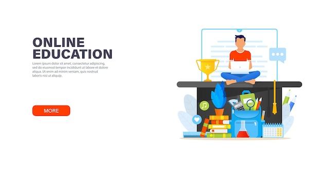 Bannière de l'éducation en ligne avec jeune homme assis avec un ordinateur portable