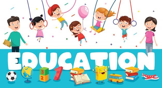 Bannière d'éducation avec de petits étudiants