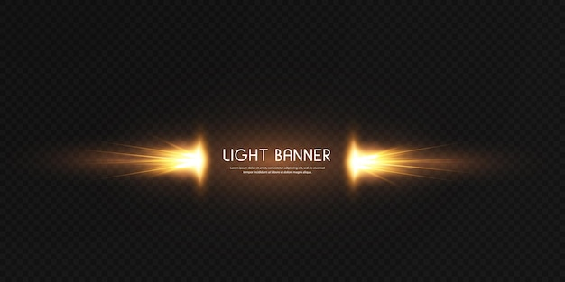 Bannière avec effet de lueur dorée scintillante magique. flux d'énergie puissant d'énergie lumineuse.
