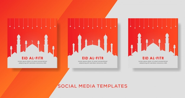 Bannière eid al fitr pour la publication instagram des médias sociaux.