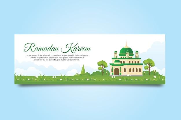 Bannière eid mubarak avec mosquée et paysage naturel