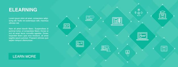 Bannière elearning 10 icônes conceptapprentissage à distance formation en ligne icônes de formation vidéo