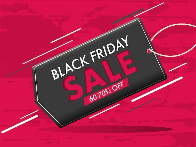 Bannière élégante, étiquette de vente avec offre de réduction de 60 à 70% pour le concept du vendredi noir.