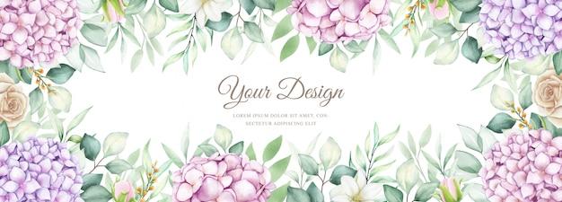 Bannière élégante avec des fleurs d'hortensia aquarelle