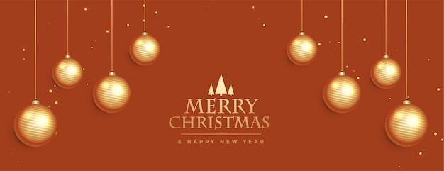 Bannière élégante De Joyeux Noël Avec Des Boules Suspendues Vecteur gratuit
