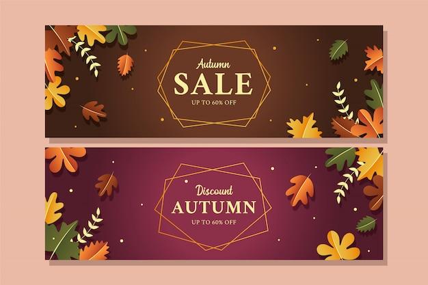 Bannière élégante de vente d'automne