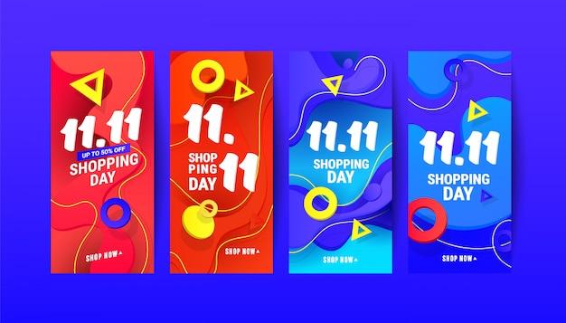 Bannière d'élément de conception de gradient de vague liquide créative pour les histoires instagram