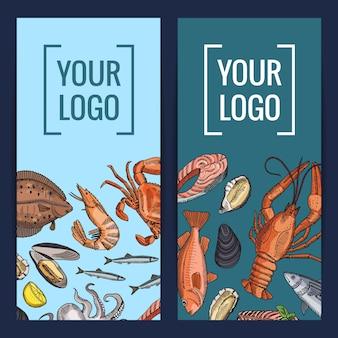 Bannière d'éléments de fruits de mer dessinés à la main