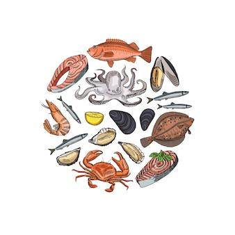 Bannière avec éléments de fruits de mer dessinés à la main