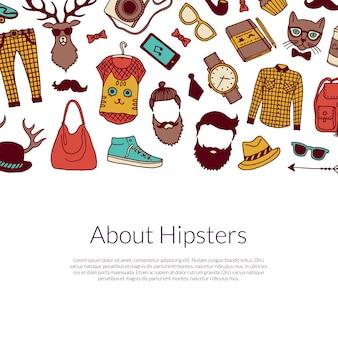 Bannière d'éléments hipster