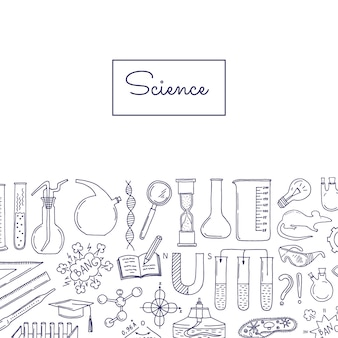 Bannière avec des éléments scientifiques ou chimiques esquissés