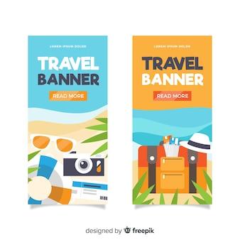 Bannière d'éléments de voyage design plat