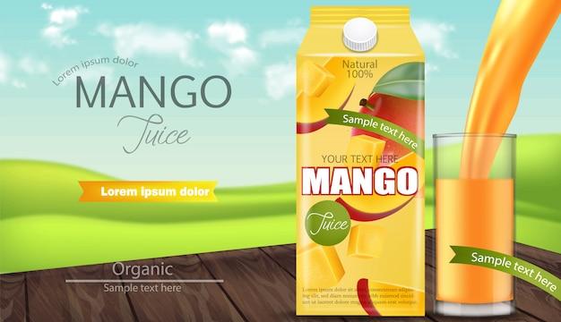Bannière d'emballage de jus de mangue