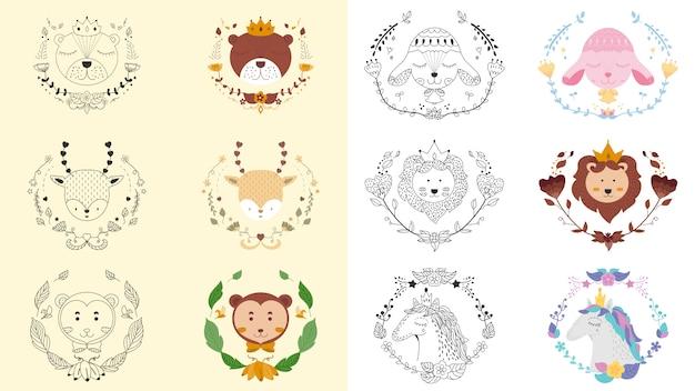 Bannière d'emblème mignon tout animal et floral