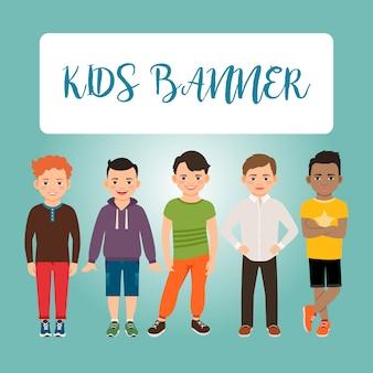Bannière enfants avec des garçons