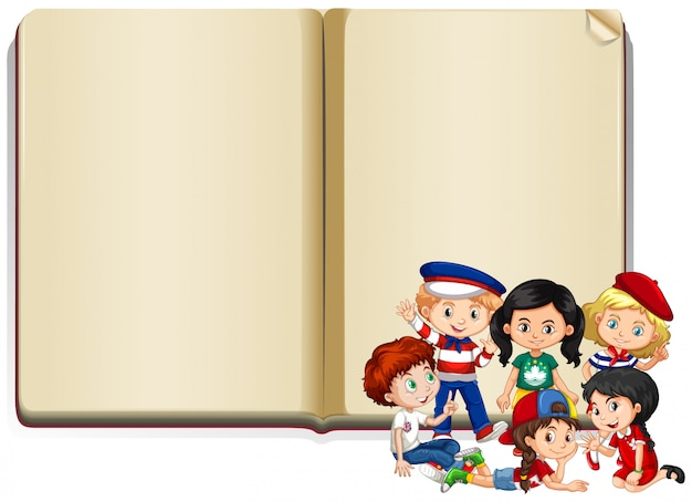Bannière avec enfants et livre