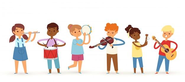 Bannière d'enfants musicien de dessin animé