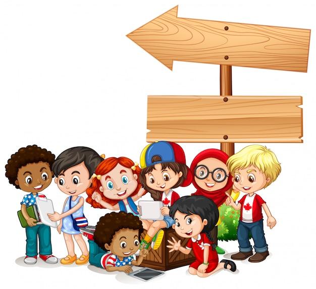 Bannière avec des enfants avec des tablettes