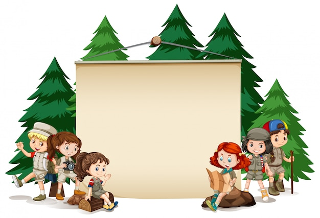 Bannière avec des enfants en tenue de plein air