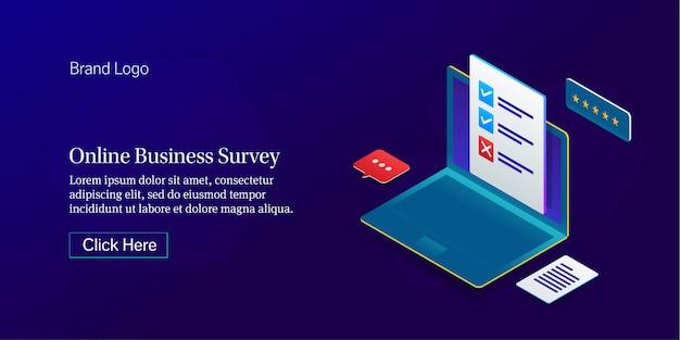 Bannière d'enquête en ligne sur les entreprises