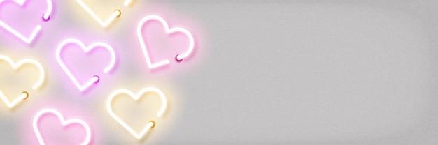 Bannière d'enseignes au néon avec forme de coeur