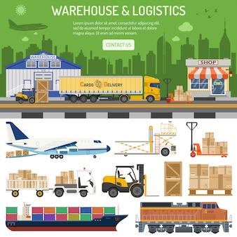 Bannière d'entrepôt et de logistique