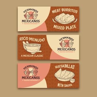 Bannière épicée de nourriture mexicaine burritos