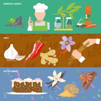 Bannière d'épices avec composition d'éléments