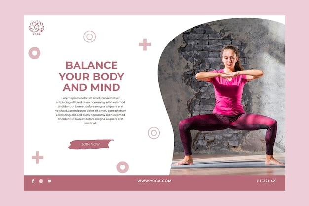 Bannière d'équilibre corporel yoga