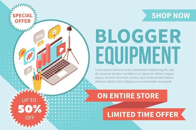 Bannière d'équipement blogger isométrique
