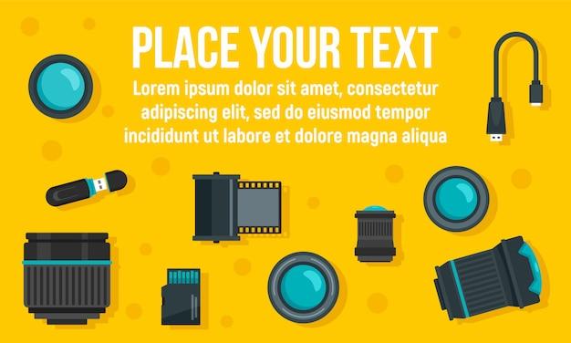 Bannière d'équipement de photographe, style plat