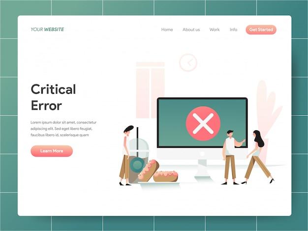 Bannière erreur critique sur l'ordinateur de la page de destination concept