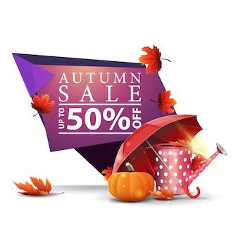 Bannière d'escompte géométrique rose moderne à la vente d'automne avec arrosoir de jardin