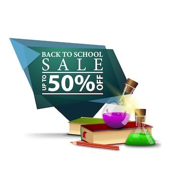 Bannière d'escompte géométrique vert moderne à la rentrée des classes avec des livres et des flacons de produits chimiques