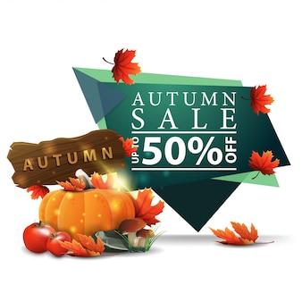 Bannière d'escompte géométrique vert moderne à la vente d'automne avec la récolte de légumes
